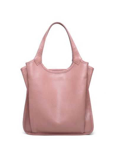 9d3c44b3f1 Solid Color Top Grain Genuine Leather Hobo Shoulder Bag-Pink