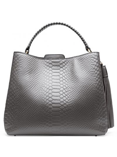 ecb7fb4d1f Crocodile Pattern Tassels Top Grain Genuine Leather Large Tote Shoulder Bag -Gray