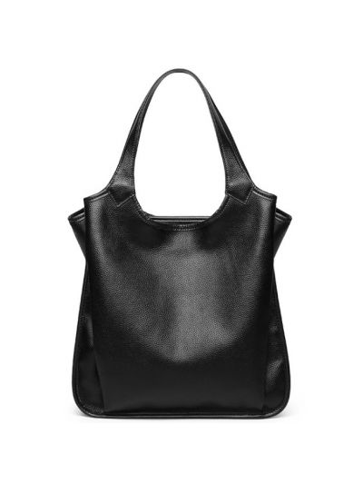 a9a17ca746 Solid Color Top Grain Genuine Leather Hobo Shoulder Bag-Black